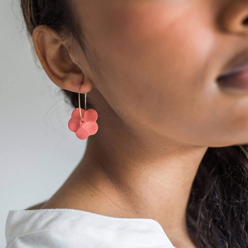 Flower Hoops in Coral
