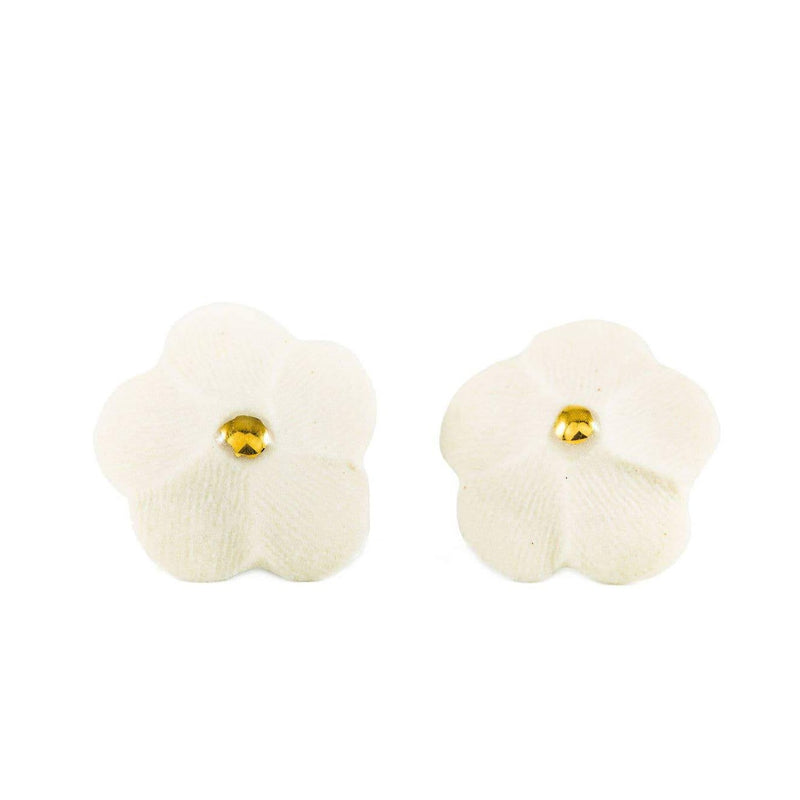 Flower Stud Earrings in White