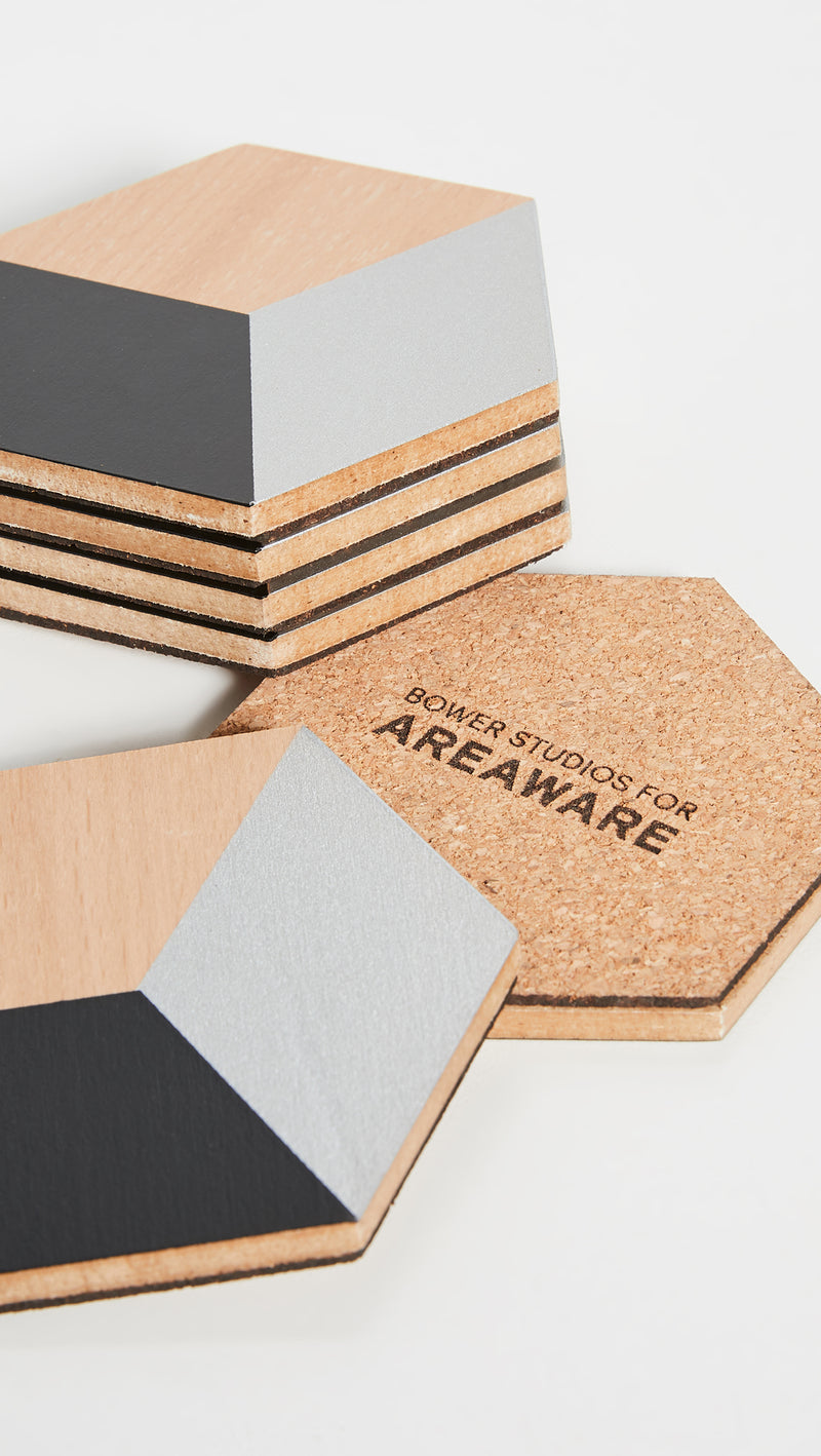 Areaware, Table Tiles in Black & Silver