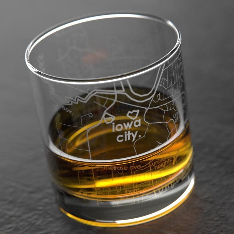 Iowa City Map, Rock Glass, Whiskey Glass, Drinking Vessel