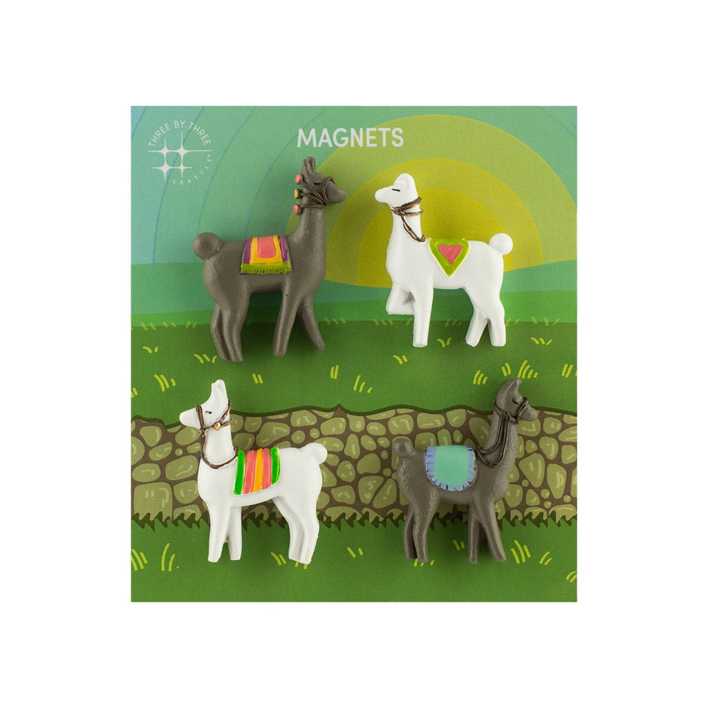 Three by Three, Polyresin Animal Magnets - Llama