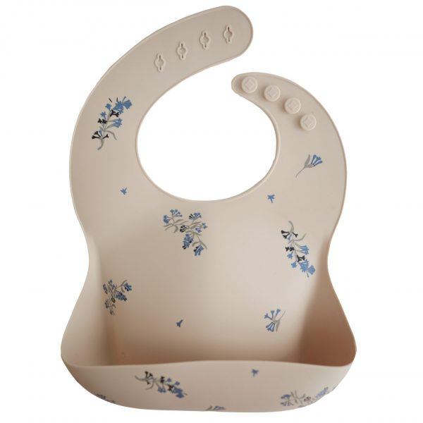Mushie, Silicone Baby Bibs, Lilac Flowers