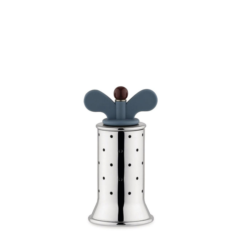 Alessi, pepper mill, pepper grinder, micheal graves design, stainless steel and blue