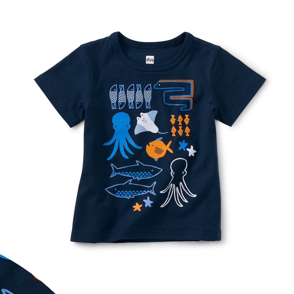 Porto Sealife Baby Graphic Tee, Whale Blue