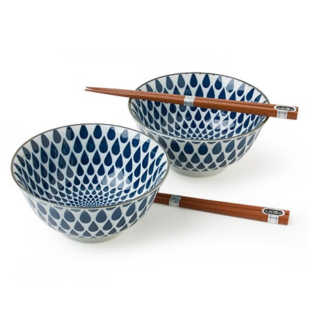 "Miya, Blue + White Rain 5.75"" Bowl Set"