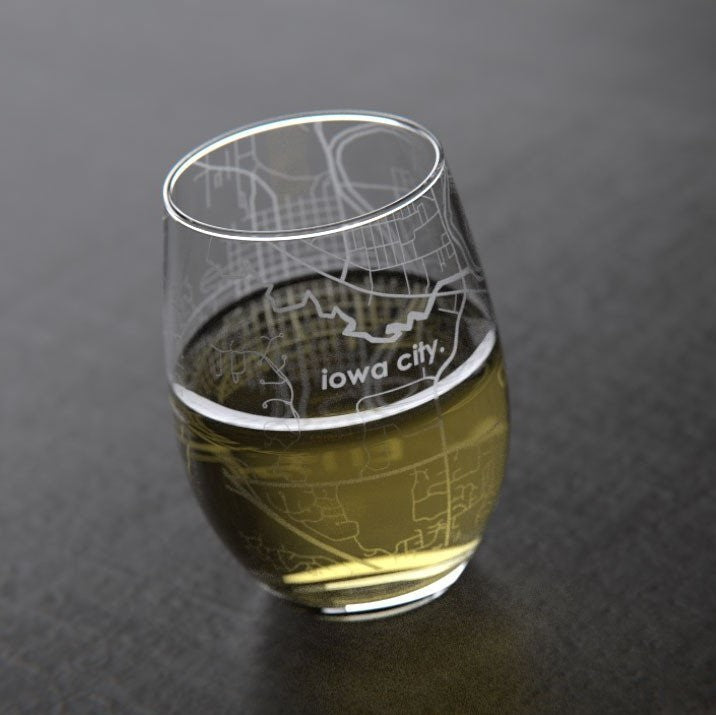Iowa City Map Stemless Wine Glass