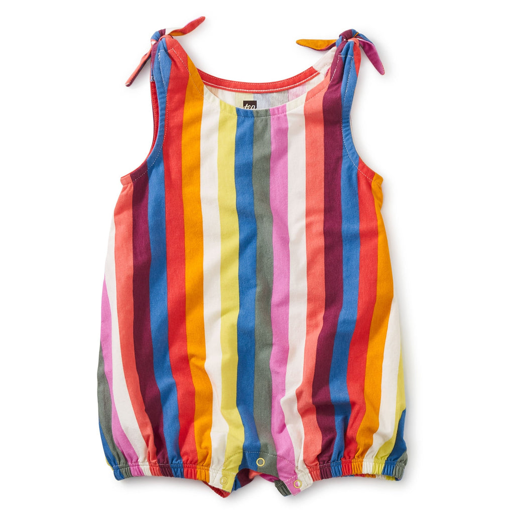 Tie Shoulder Baby Romper in Vibrant Stripe