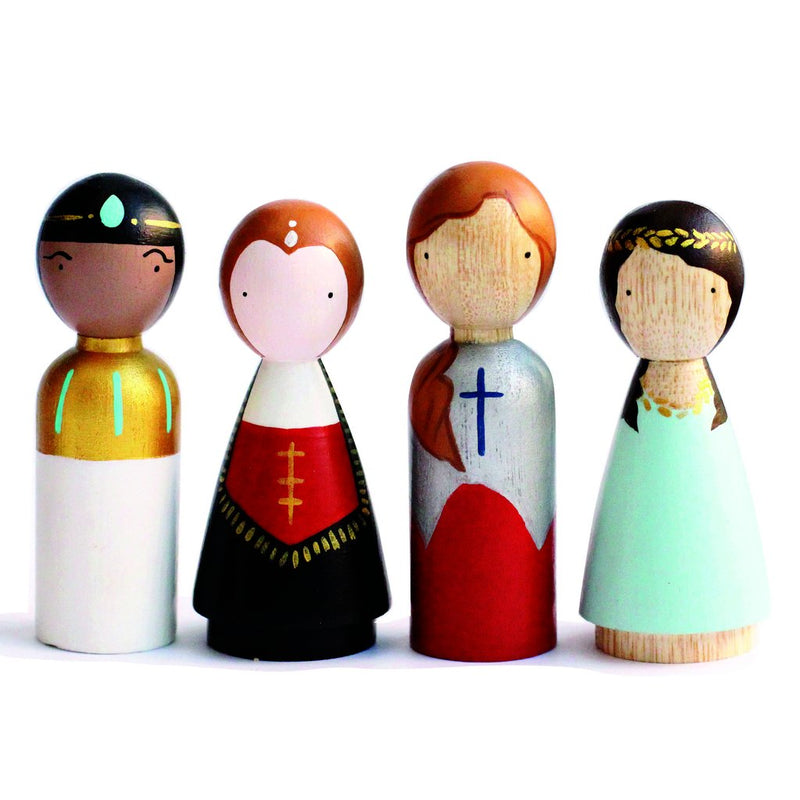 Women in Power Peg Dolls, Goose Grease, Wooden Dolls, Cleopatra, Queen Elizabeth I, Joan of Arc, and Queen Esther