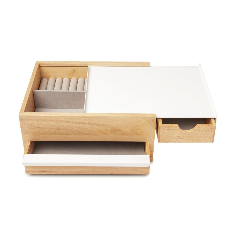Stowit Jewelry Box, White and Wood