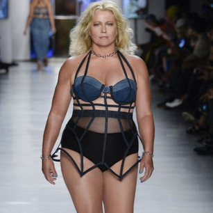 Emme walking in the Chromat Fashion Show