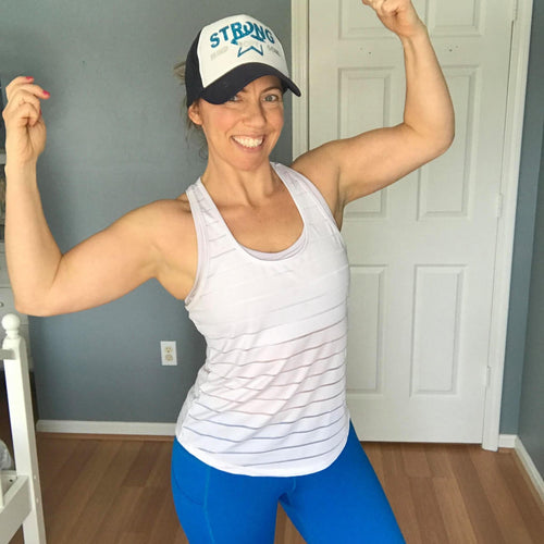 fawn makes the same muscular pose but is now 10 years cancer free!
