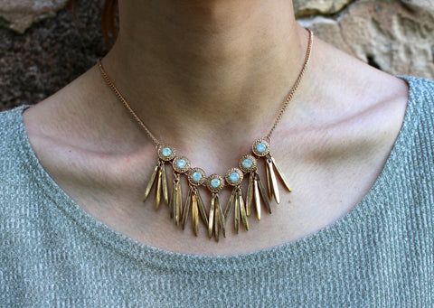 Turquoise and Antique Copper Necklace and Earring Set