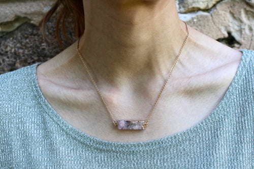 Lilac Druzy Bar Necklace
