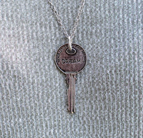 """Dream"" Key Pendant Necklace - Silver"