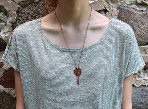 """Dream"" Key Pendant Necklace - Antique Copper"