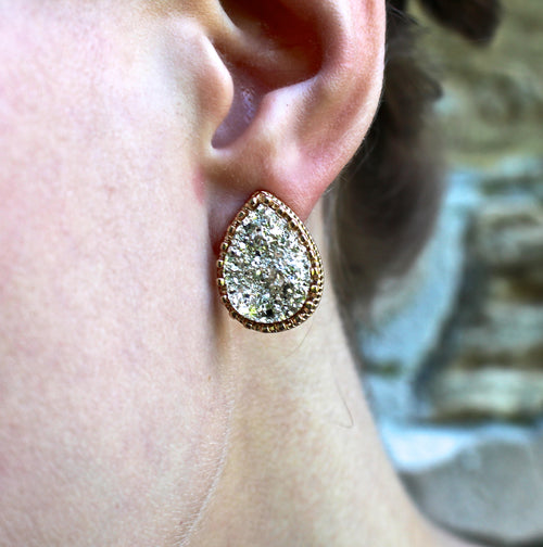 T-Drop Druzy Earrings - Gold