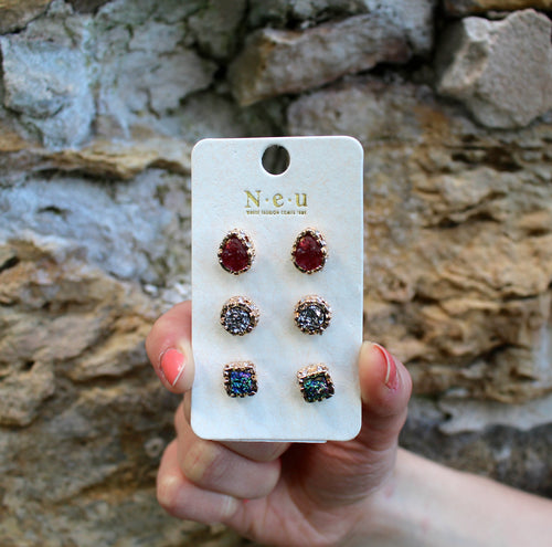 The Regal Three Druzy Stud Set