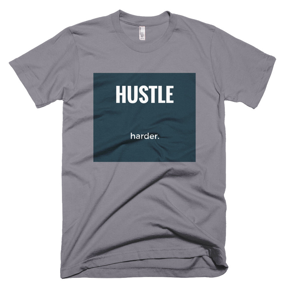 HUSTLE harder. [short sleeve men's t-shirt]