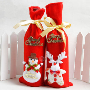 2 Pieces Nonwovens Christmas Wine Bottle Decorate Holiday Decorations