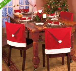 Christmas Decorations Happy Santa Red Hat Chair Back Covers Dinner