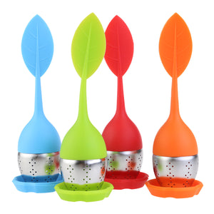 4pcs Leaf Shaped Silicone Handle Tea Infuser Strainer