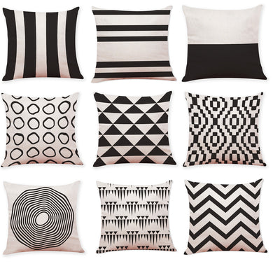 Cushion Covers Black And White Geometry