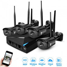 4 Channel 1080P 1.3MP Wi-Fi Wireless Security Camera System Kit - Black (EU Plug)