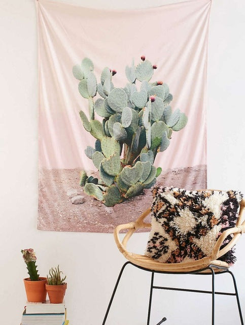 pink cactus boho wall decor tapestry