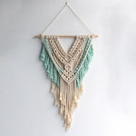macramé cotton fiber natural white turquoise wall hanging