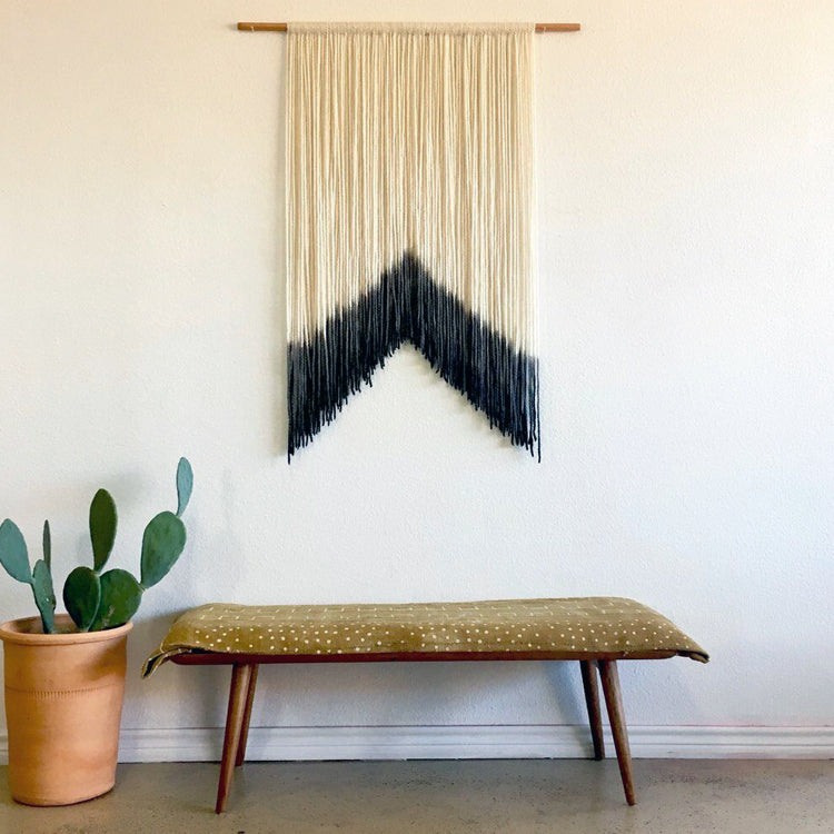 dyed macrame wall hanging
