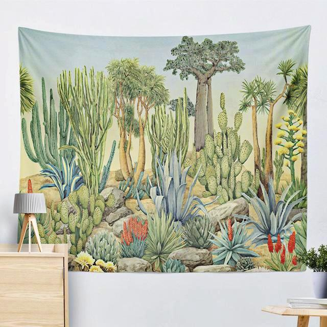 Desert landscape cactus succulent tapestry home wall decor