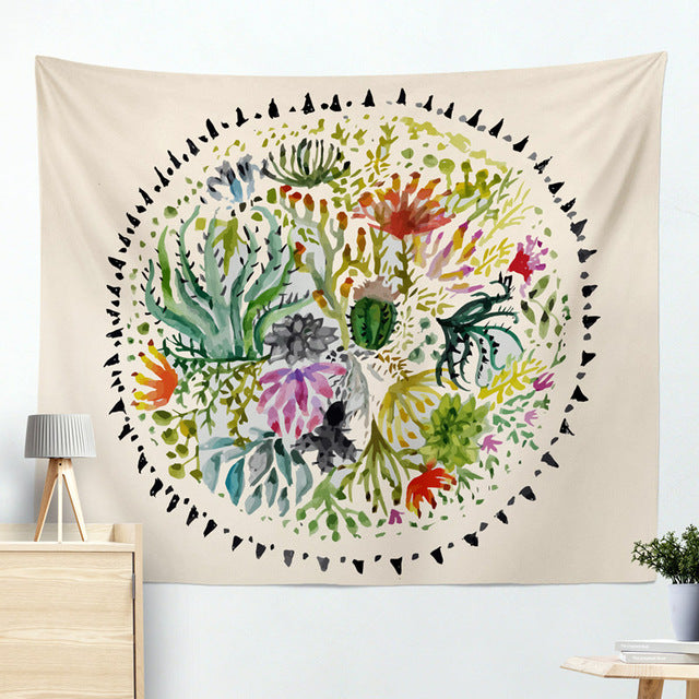 succulent boho wall decor tapestry