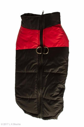 Red One Stripe Body Warmer Dog Coat - Woof Suits