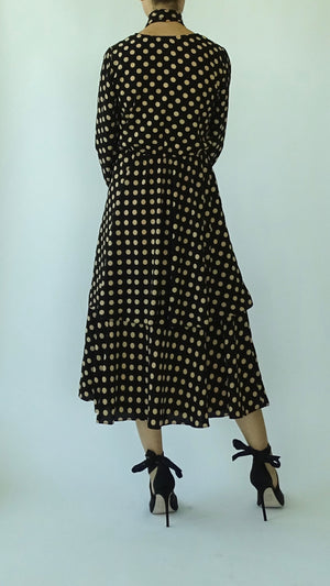 NEFELI Tiered Polka Dot Dress