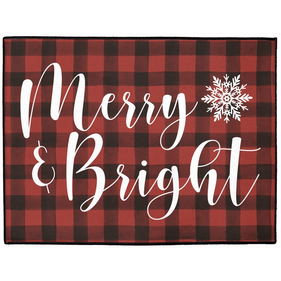 Merry & Bright Holiday Indoor/Outdoor Carpeted Floor Mat