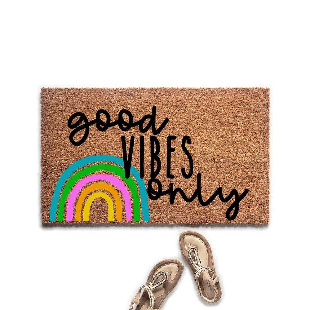 Good Vibes Only Doormat, Cute Boho Rainbow Welcome Mat, Housewarming Gift, Hostess Gift, Boho Decor