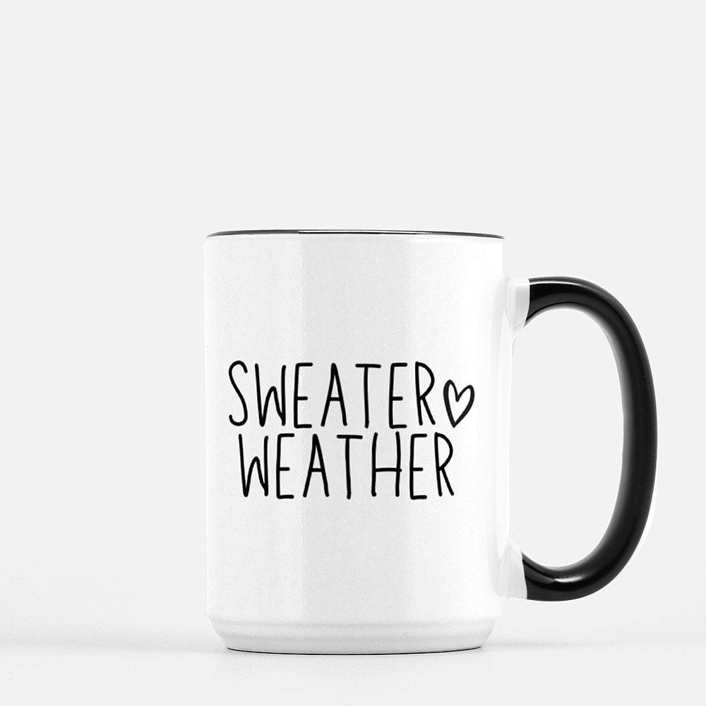 Sweater Weather Mug |15 oz Large Ceramic Coffee Mug | Cute Fall Coffee Cup - Urban Owl Co
