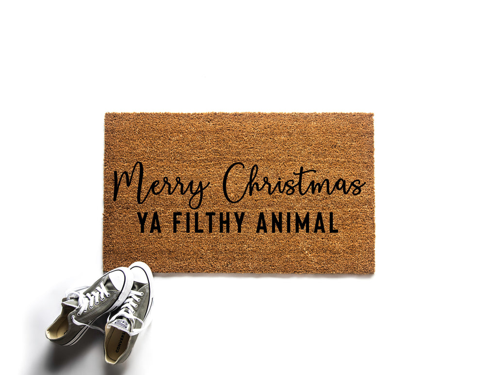 Merry Christmas Ya Filthy Animal  Doormat | Welcome Mat | Funny Doormat | Holiday Decor | Christmas Doormat