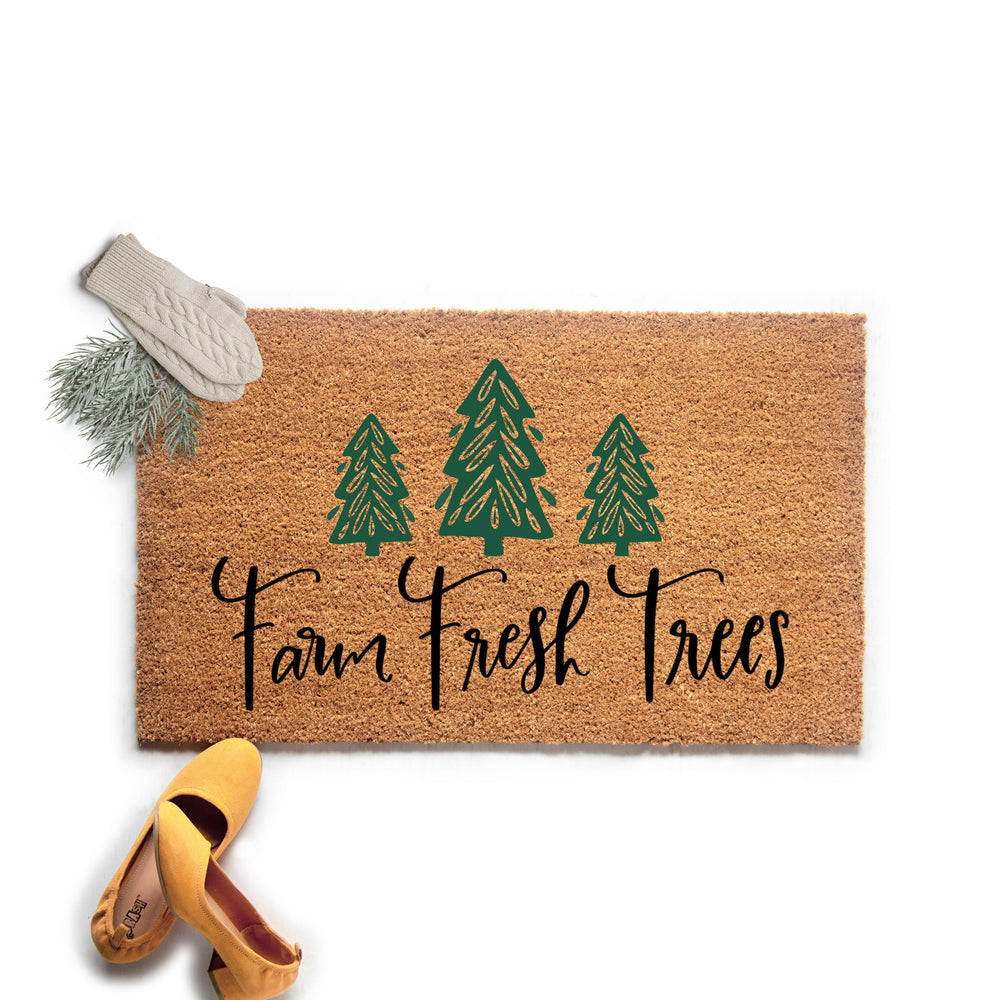 Farmhouse Christmas Doormat, Farm Fresh Trees Welcome Mat, Outdoor Holiday Decor, Christmas Door Mat