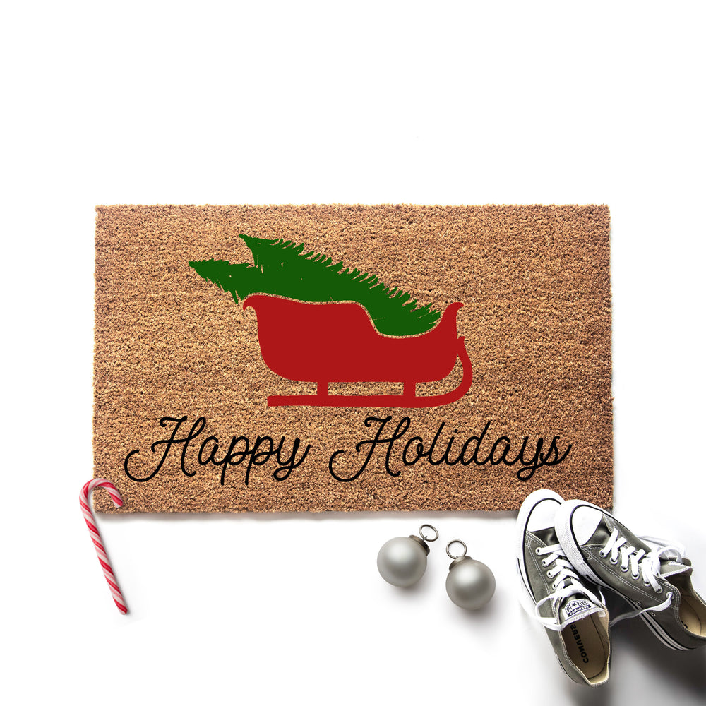 Happy Holidays Sleigh Christmas Doormat
