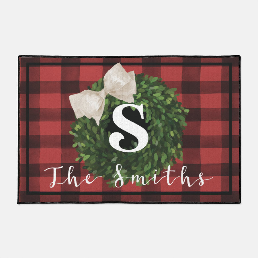 Holiday Monogram Wreath Carpet Doormat, Farmhouse Holiday Decor Welcome Mat, Personalized Magnolia Wreath Door Mat