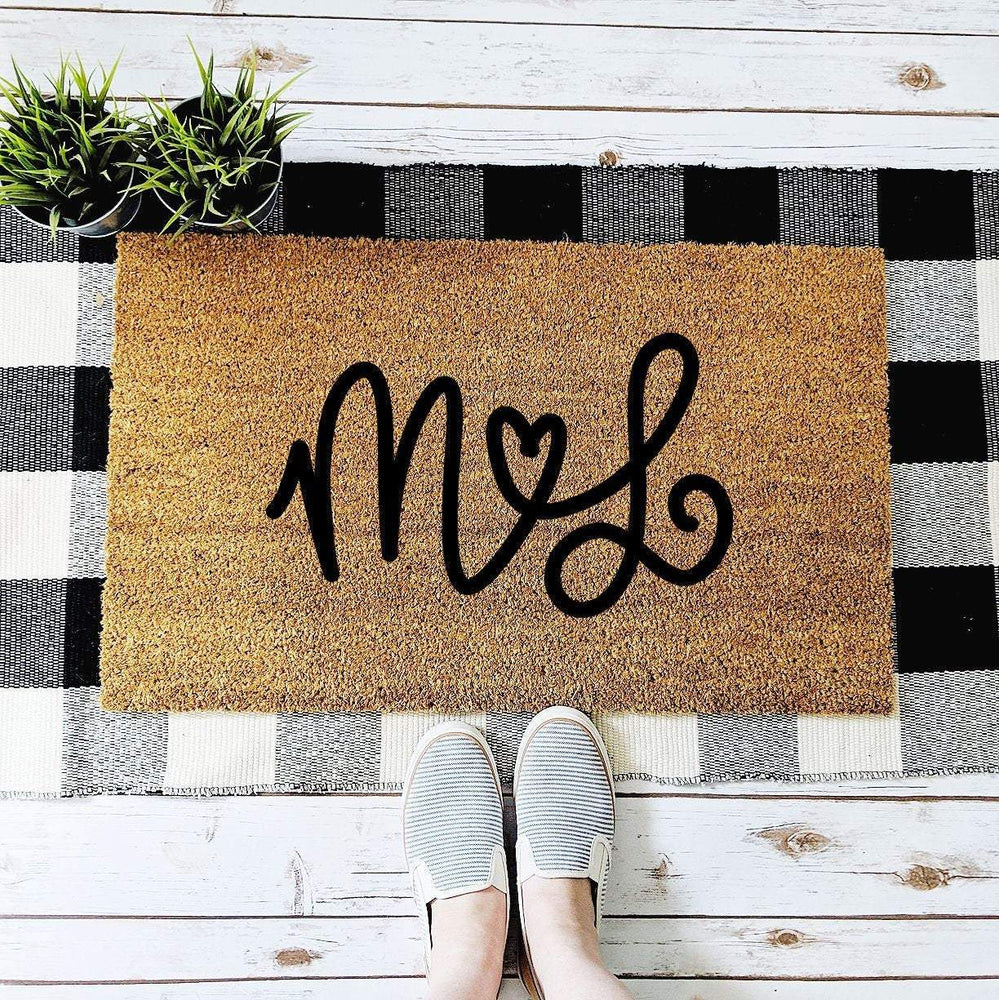 Personalized Couple's Initials with Heart Doormat