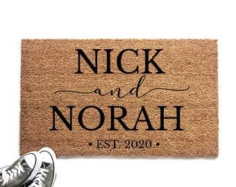 Personalized Couple's Names with Established Date Doormat