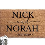 Personalized Couple's Names with Established Date Doormat - Urban Owl