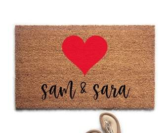 Personalized Couple's Names with Heart Doormat - Urban Owl