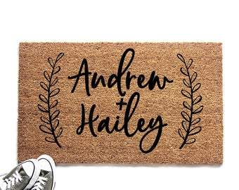 Personalized Couple's Names with Laurel Doormat
