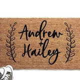 Personalized Couple's Names with Laurel Doormat - Urban Owl