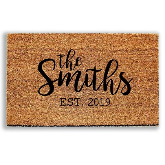 Personalized Last Name Doormat with Established Date