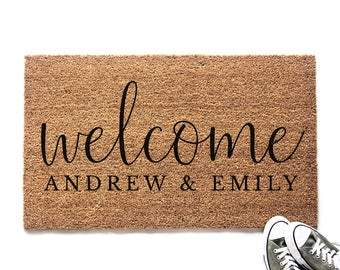 Personalized Welcome with Couple's Names Doormat - Urban Owl
