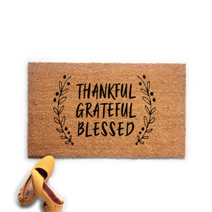 Thankful Grateful Blessed Fall Doormat - Urban Owl Co